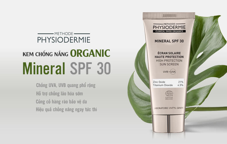 Kem chống nắng sinh học-Methode Physiodermie MINERAL SPF 30 (ORGANIC)