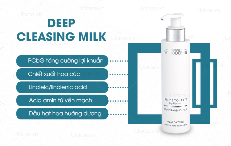 Sữa rửa mặt tẩy trang 3 in 1-Methode Physiodermie Deep Cleansing Milk